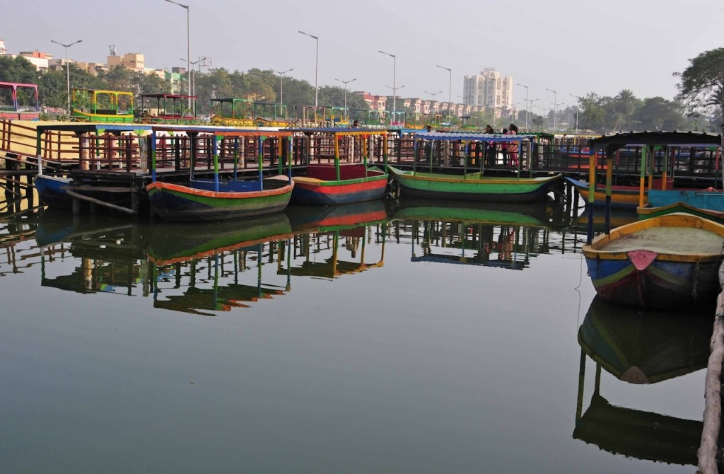 Kolkata: A view of boats that will be part of Baishnabghata-Patuli floating market to be opened soon in Kolkata, on Dec 20, 2017. Inspired by floating markets in Thailand and Indonesia, the boats are around 10 feet in length and each boat will house two shops. (Photo: Kuntal Chakrabarty/IANS)